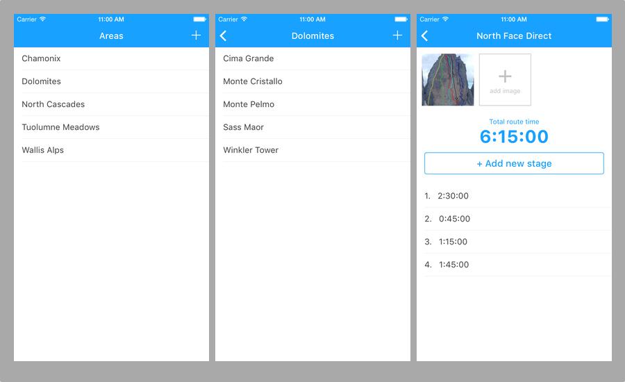 Mountimer, část aplikace na iPhone, zakládání a editace cest a jejich etap.